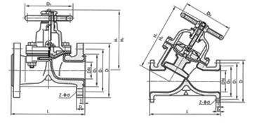 衬氟隔膜阀外形尺寸图